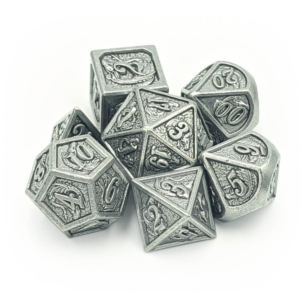 Ancient Silver Dragon Carving Oversized Metal Dice Set - Imaginary Adventures