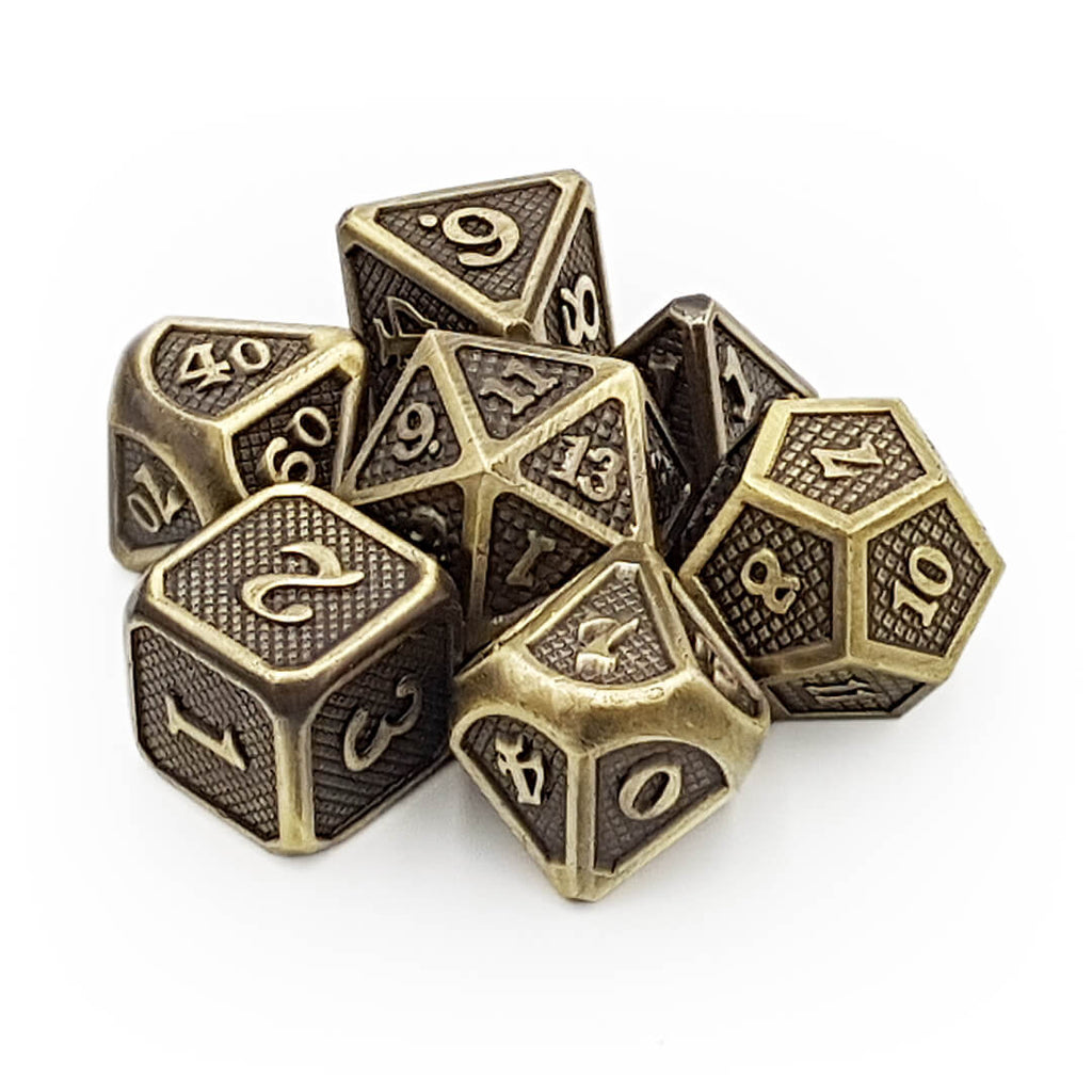 Bronze Dragon Scale Metal Dice Set - Imaginary Adventures