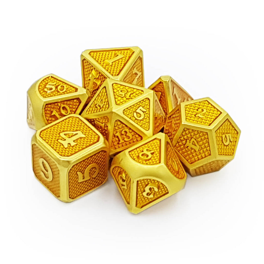Gold Dragon Scale Metal Dice Set - Imaginary Adventures