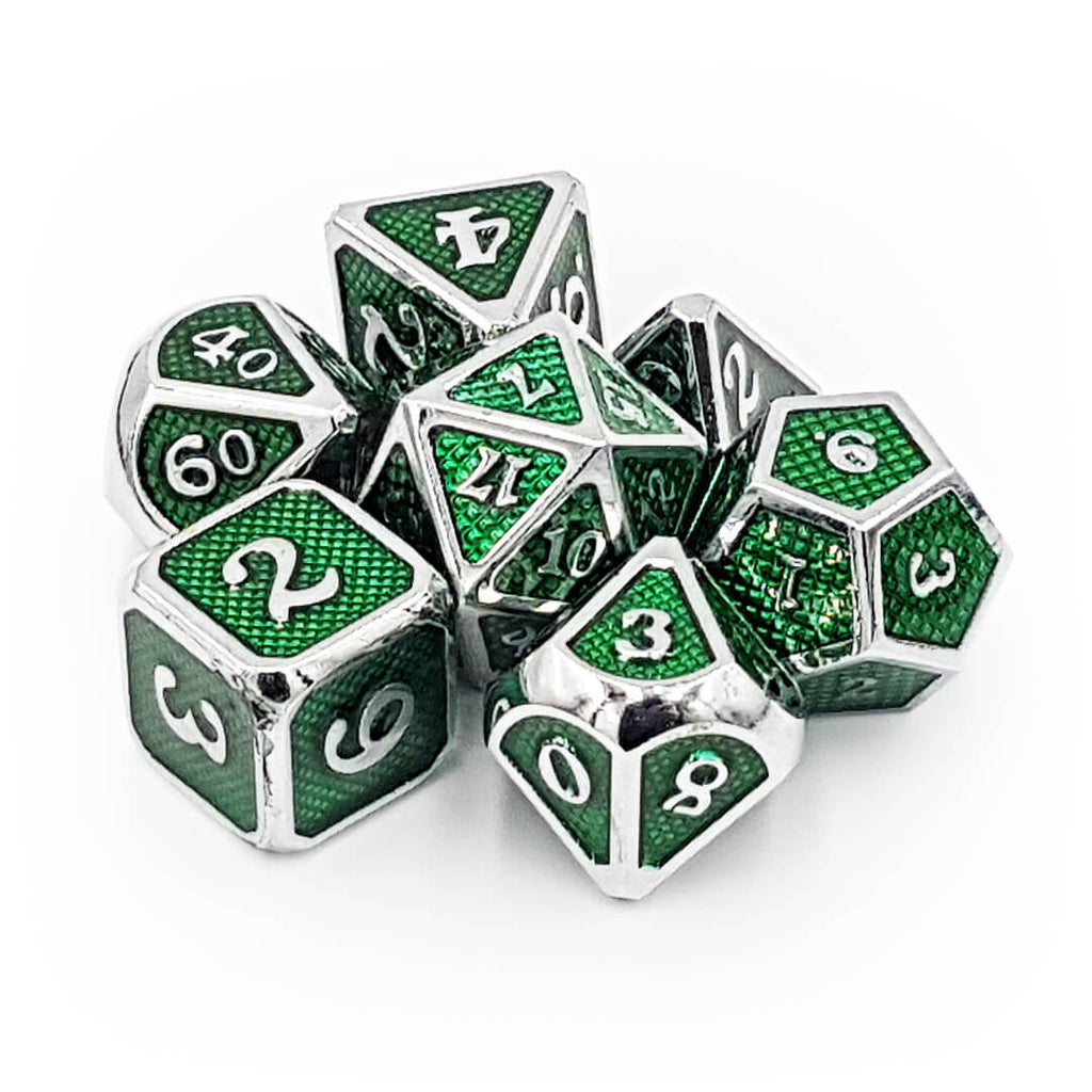 Green Dragon Scale Metal Dice Set - Imaginary Adventures