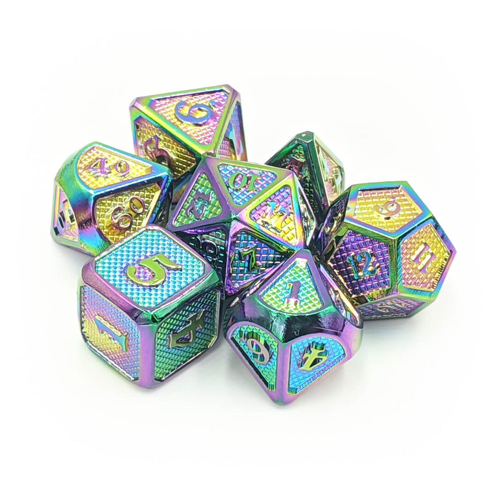 Prismatic Dragon Scale Metal Dice Set - Imaginary Adventures