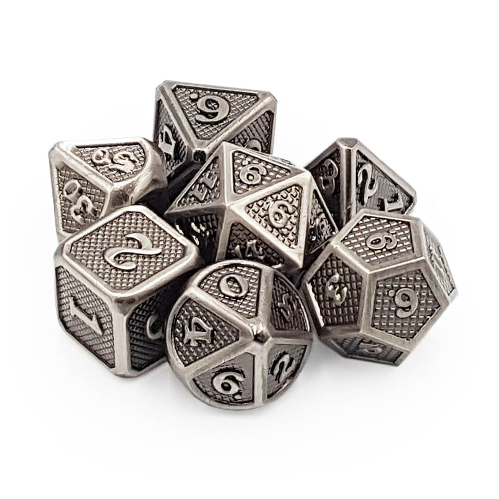 Silver Dragon Scale Metal Dice Set - Imaginary Adventures