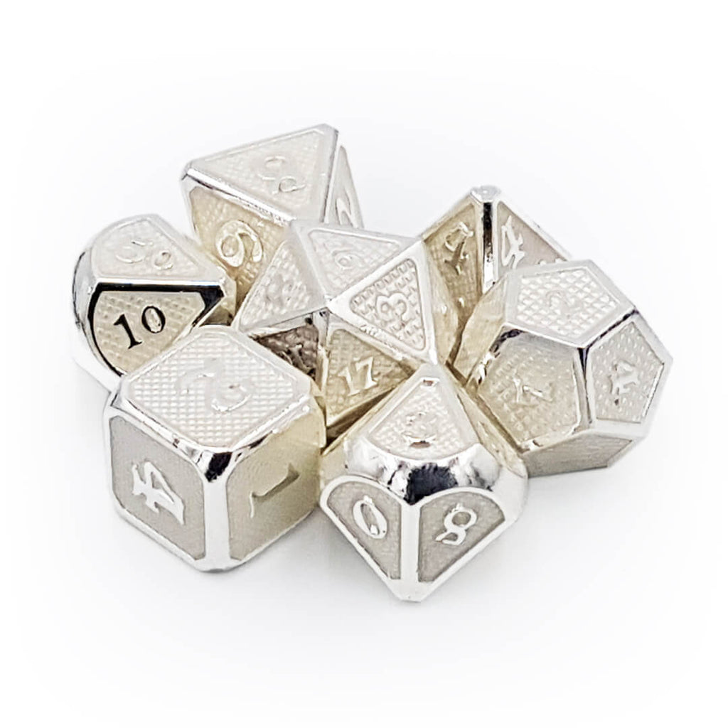 White Dragon Scale Metal Dice Set - Imaginary Adventures