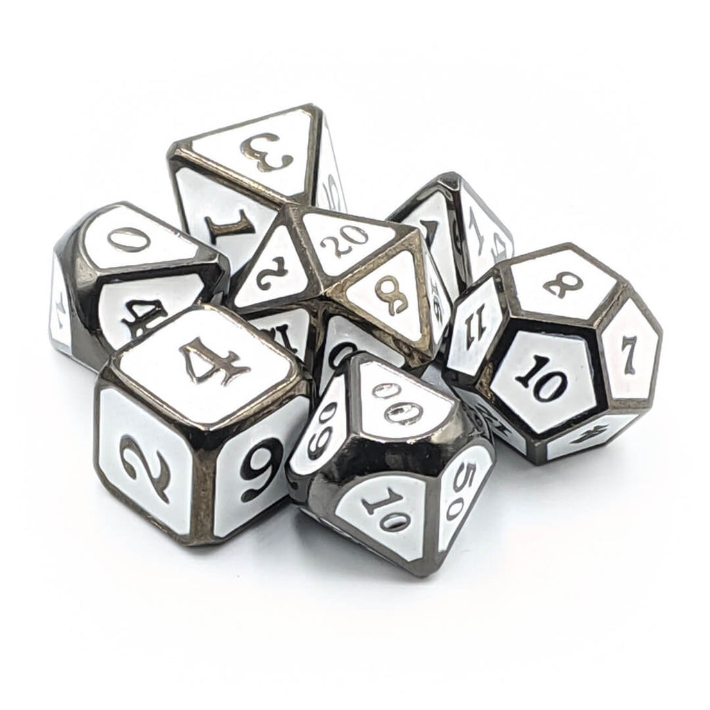 Adamantine Dragon Style Metal Dice Set with White Enamel - Imaginary Adventures