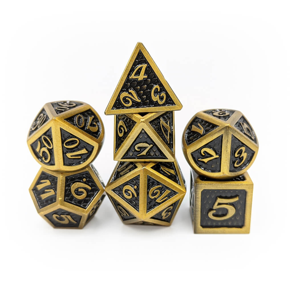 Brass Elder Dragon Scale Oversized Metal Dice Set