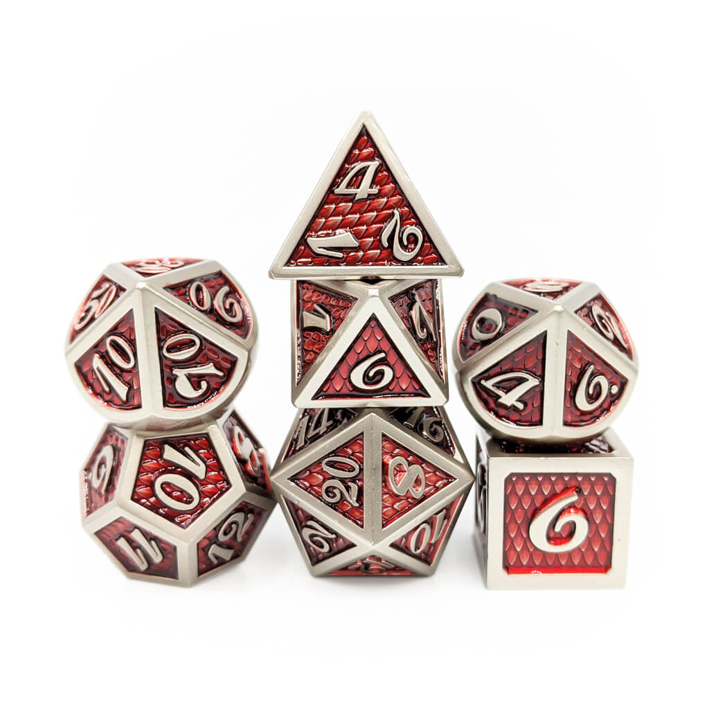 Red Elder Dragon Scale Oversized Metal Dice Set