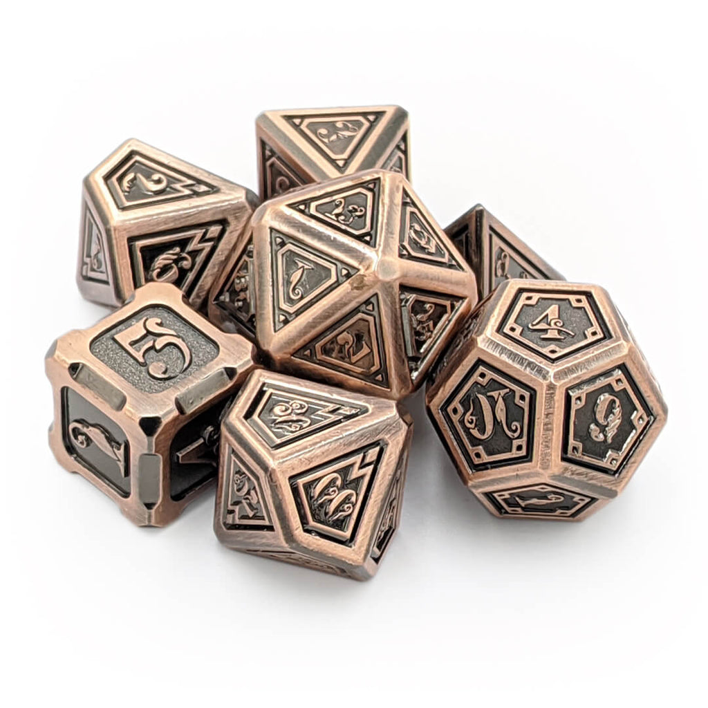 Copper Elder Magic Oversized Metal Dice Set - Imaginary Adventures