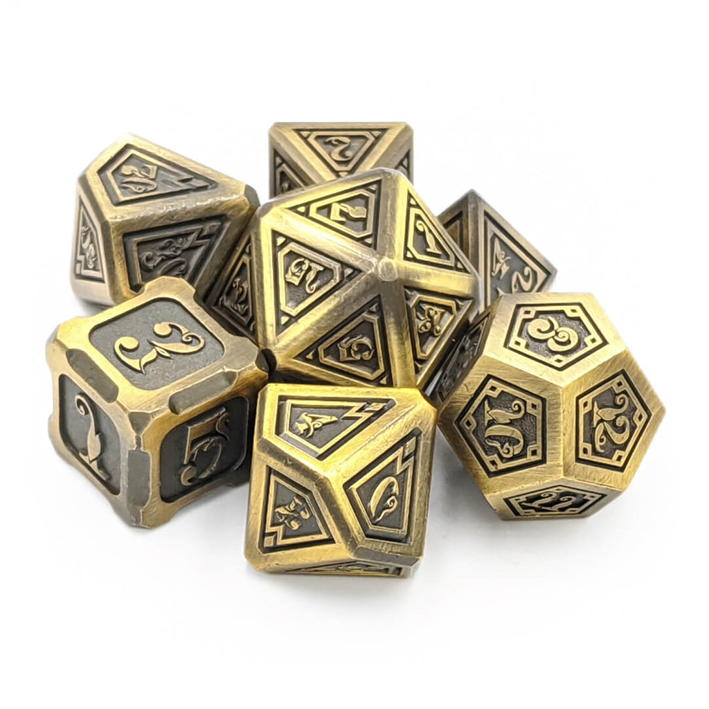 Gold Elder Magic Oversized Metal Dice Set