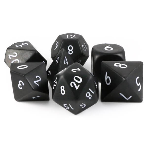 Squishy Foam 7 Dice Set - Black - Imaginary Adventures