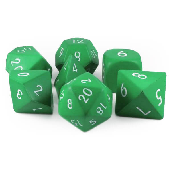 Squishy Foam 7 Dice Set - Green - Imaginary Adventures