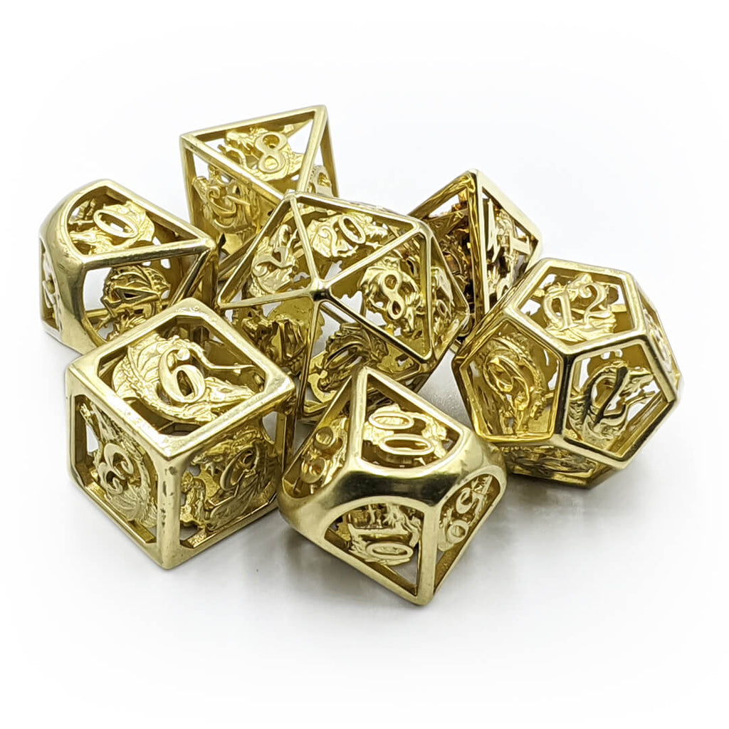 Hollow Gold Dragon Metal Dice Set - Imaginary Adventures