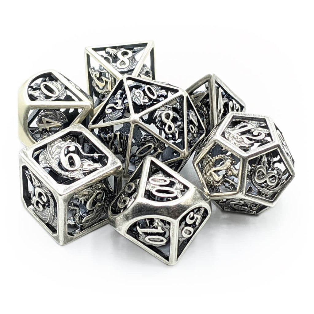 Hollow Silver Dragon Oversized Metal Dice Set - Imaginary Adventures