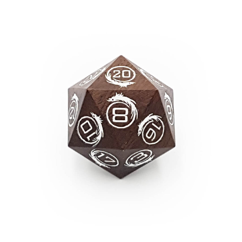 Large Wooden Dragon d20 - Ebony with White - Imaginary Adventures