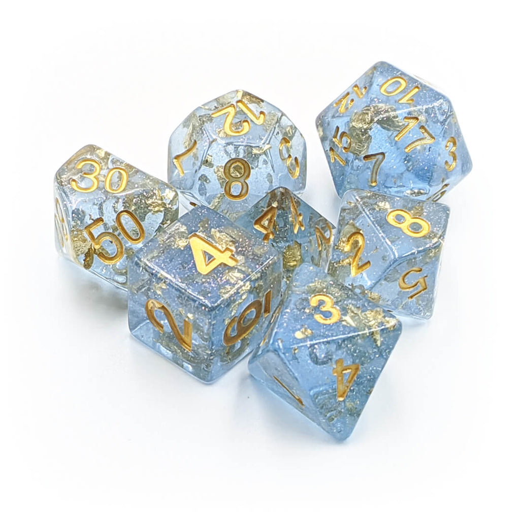MDG Blue & Gold Foil Dice Set - Imaginary Adventures