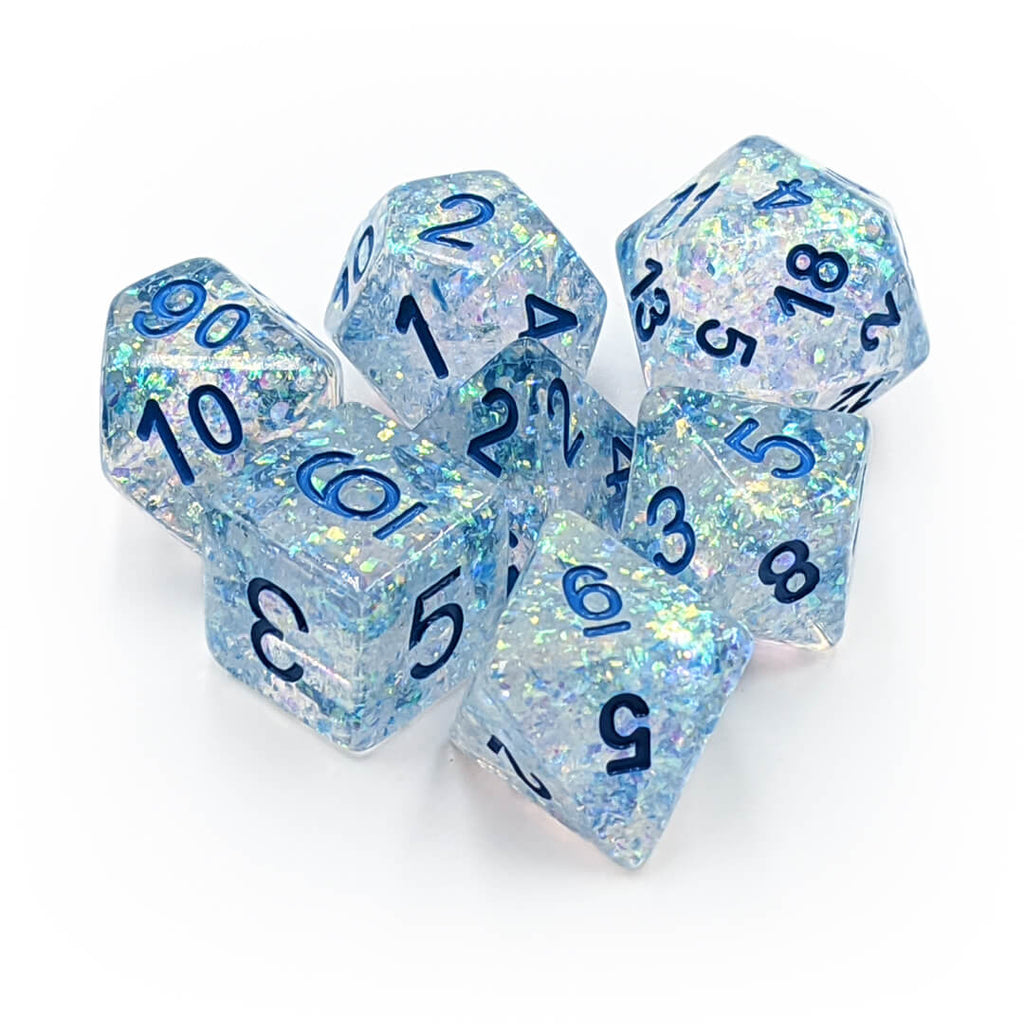 MDG Clear with Light Blue Flash Dice Set