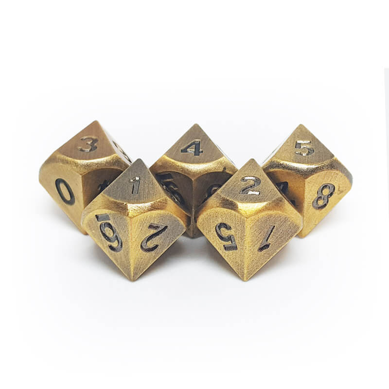 Metal 5d10 Dice Set - Old Gold - Imaginary Adventures