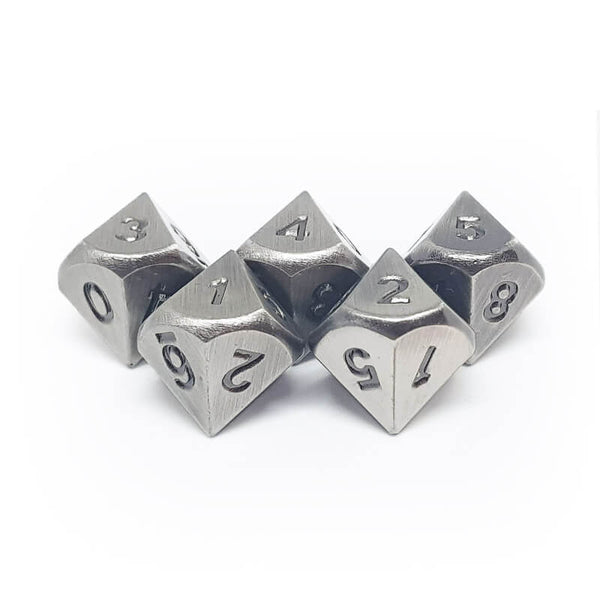 Metal 5d10 Dice Set - Old Silver - Imaginary Adventures