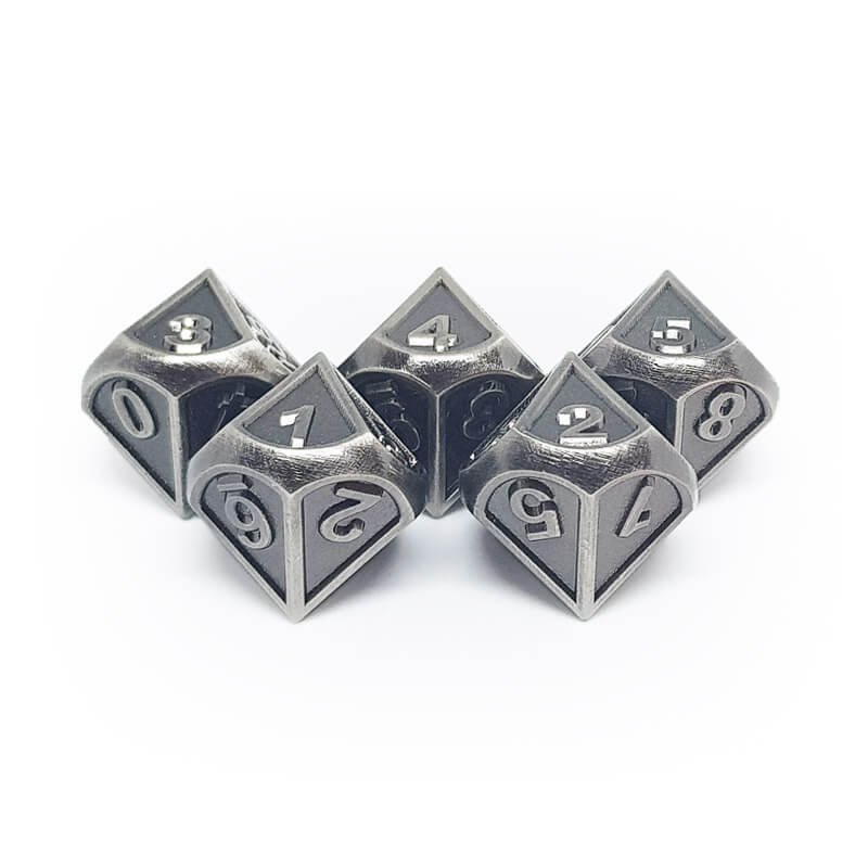 Metal 5d10 Dice Set - Ornate - Old Silver - Imaginary Adventures