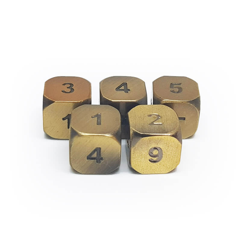 Metal 5d6 Dice Set - Old Gold - Imaginary Adventures