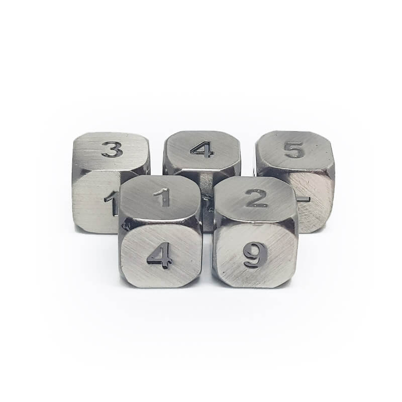 Metal 5d6 Dice Set - Old Silver - Imaginary Adventures