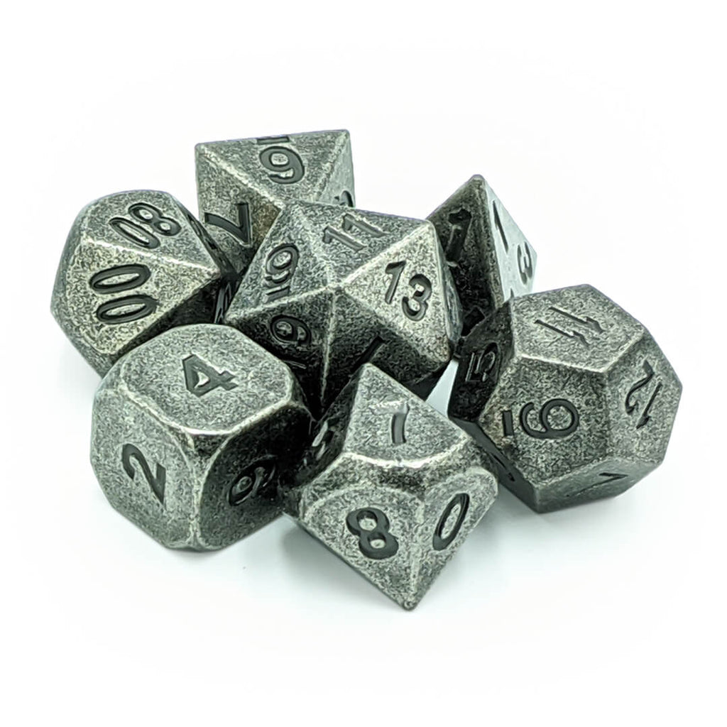 Metal 7 Dice Set - Ancient Silver