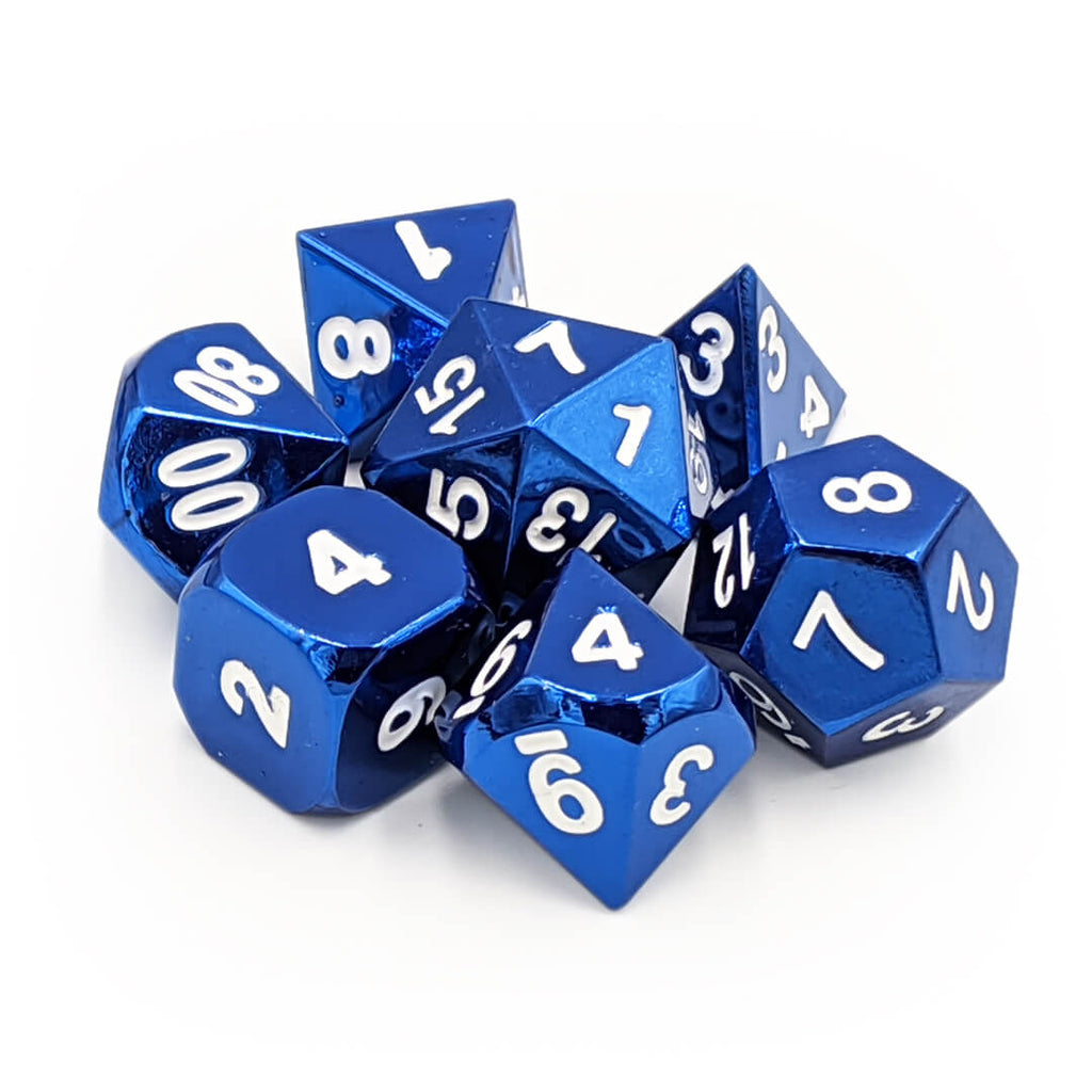 Metal 7 Dice Set - Blue - Imaginary Adventures