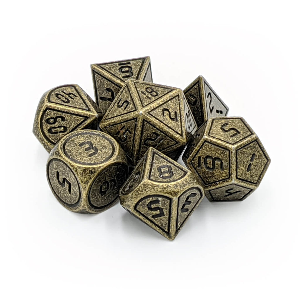 Metal 7 Dice Set - Digital - Ancient Gold - Imaginary Adventures