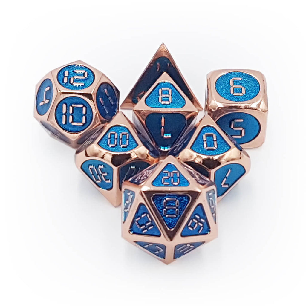 Metal 7 Dice Set - Ornate Digital - Shiny Copper - Imaginary Adventures