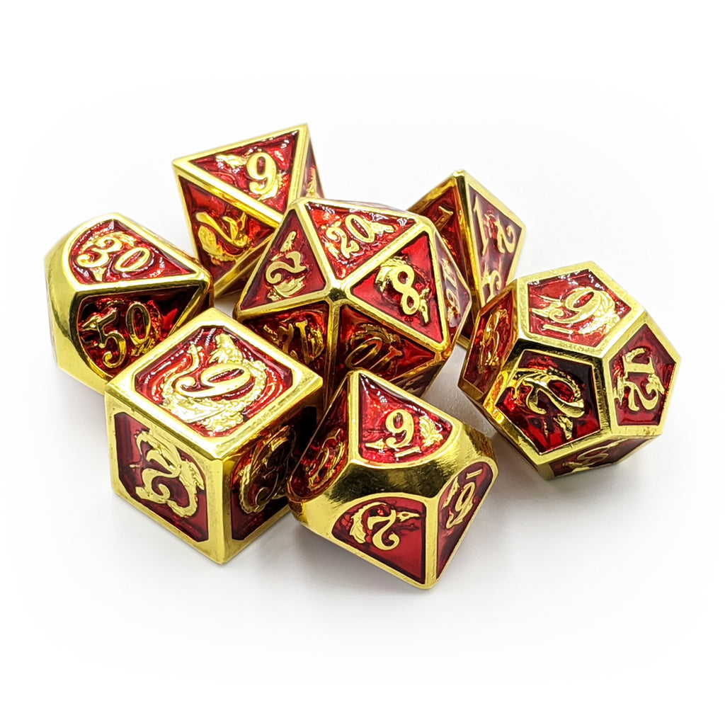 Shiny Gold & Red Dragon Carving Oversized Metal Dice Set - Imaginary Adventures