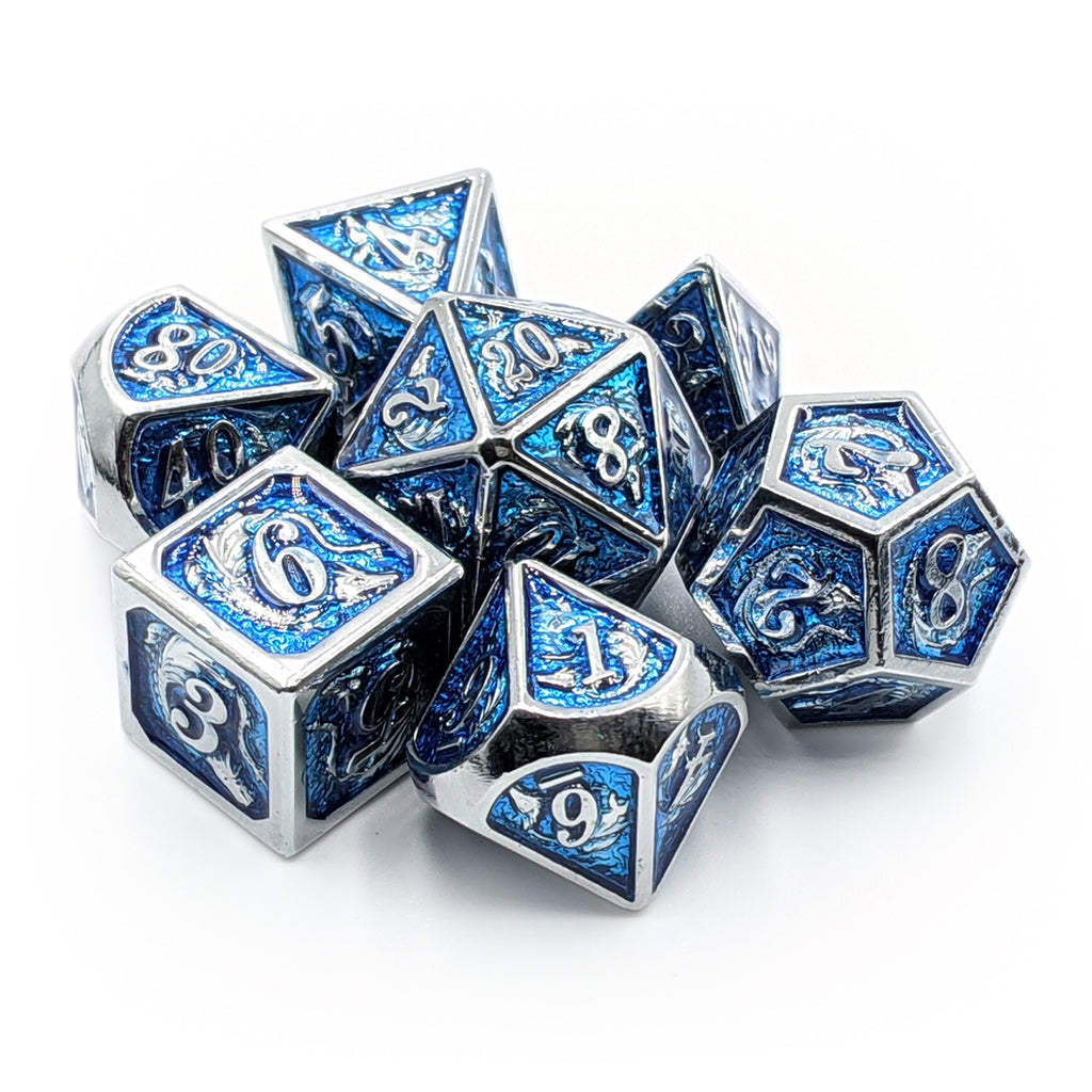Shiny Silver & Blue Dragon Carving Oversized Metal Dice Set - Imaginary Adventures