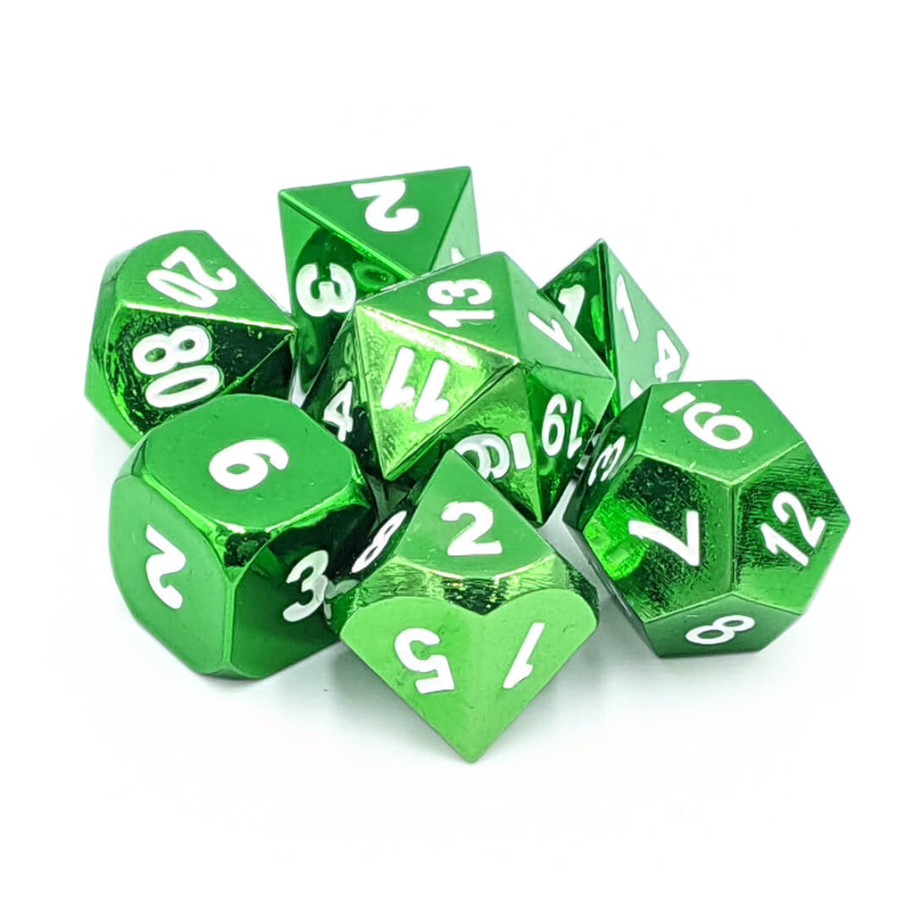 Metal 7 Dice Set - Green - Imaginary Adventures