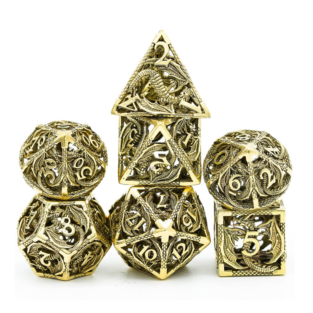 Hollow Bronze Flying Dragon Oversized Metal 7 Dice Set