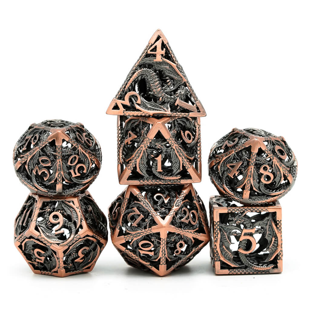 Hollow Copper Flying Dragon Oversized Metal 7 Dice Set