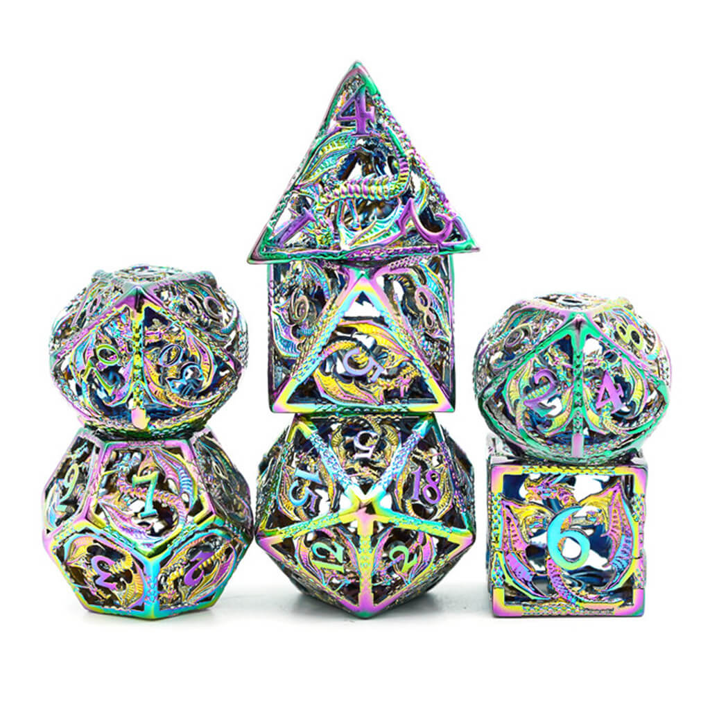 Hollow Prismatic Flying Dragon Oversized Metal 7 Dice Set