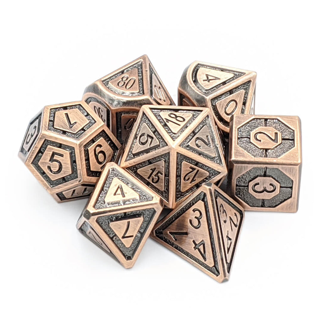 Imperial Old Copper Metal Dice Set - Imaginary Adventures