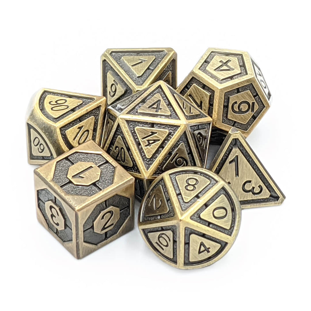 Imperial Old Gold Metal Dice Set - Imaginary Adventures