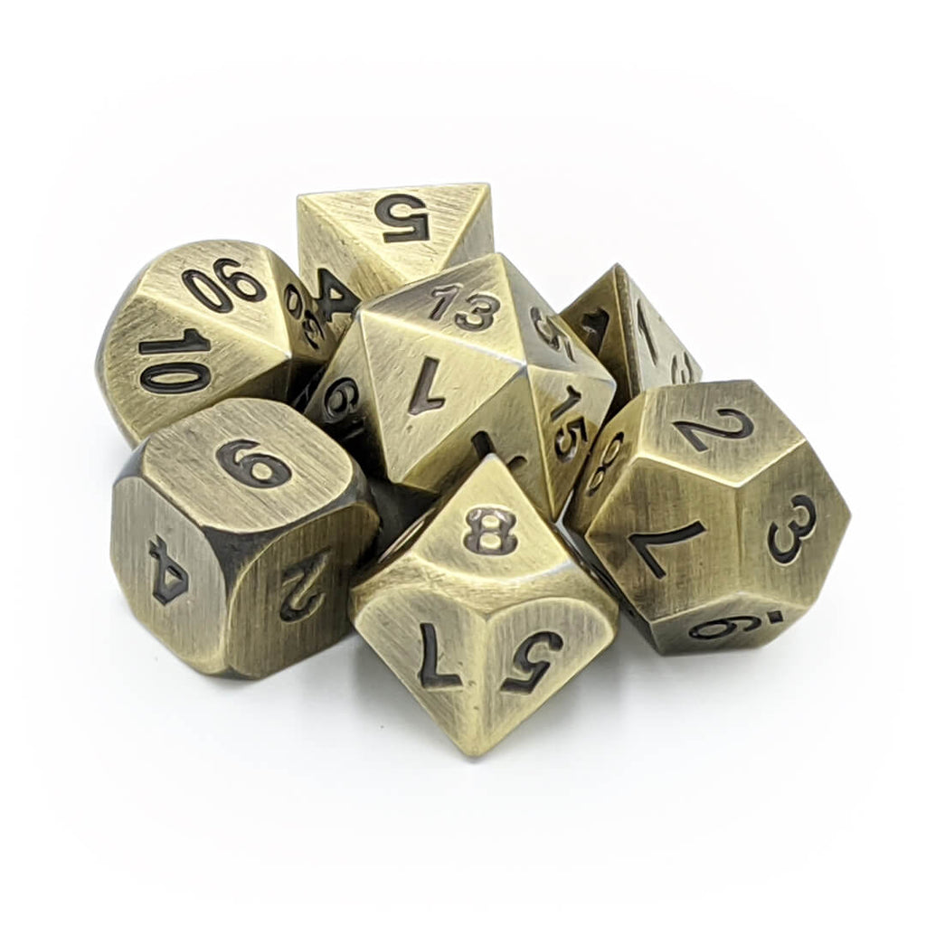 Metal 7 Dice Set - Old Bronze