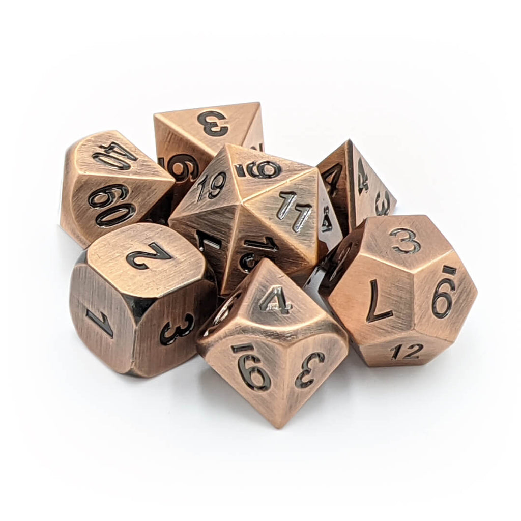 Metal 7 Dice Set - Old Copper - Imaginary Adventures