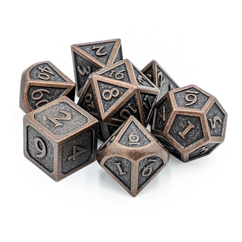 Metal 7 Dice Set - Ornate - Ancient Copper