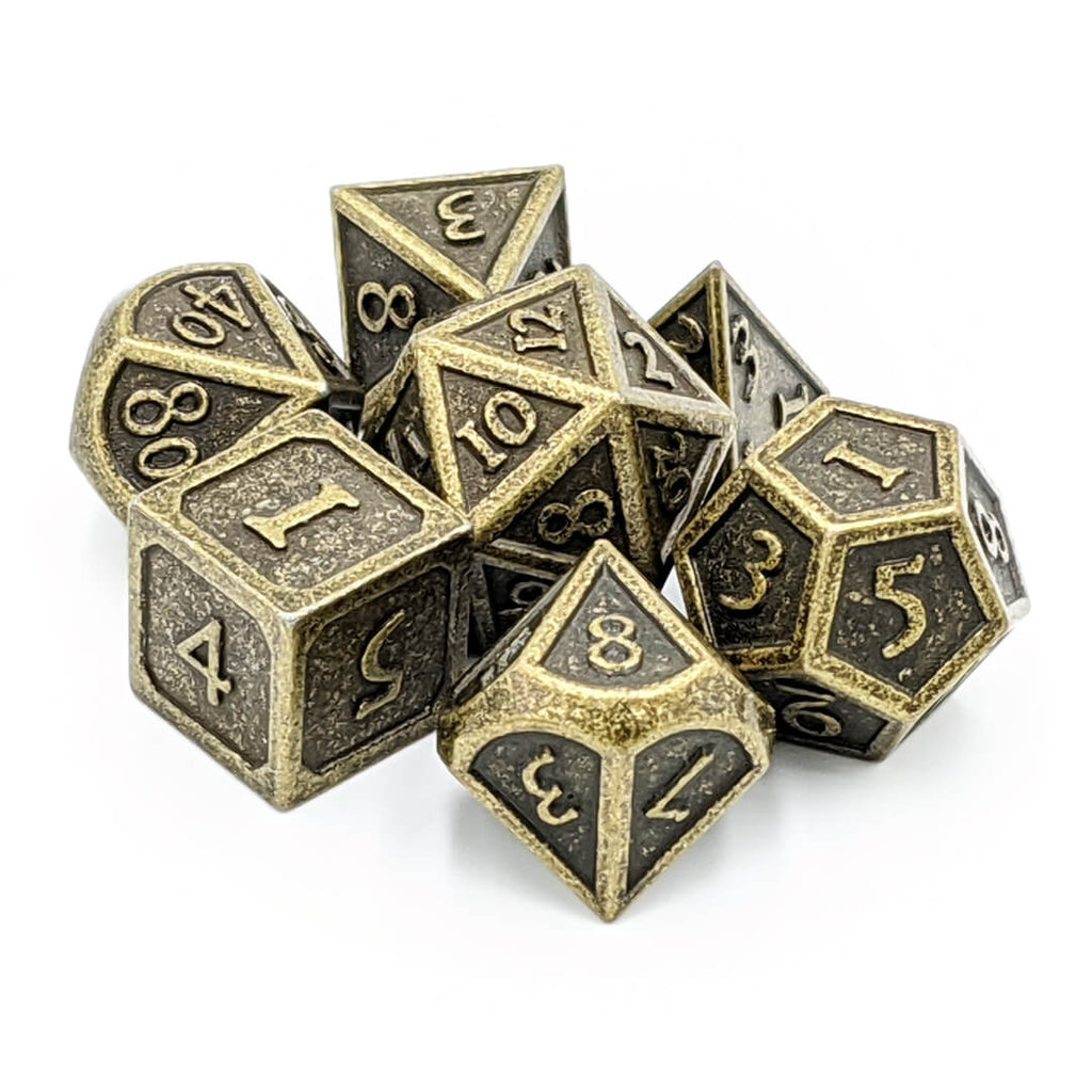 Metal 7 Dice Set - Ornate - Ancient Gold - Imaginary Adventures