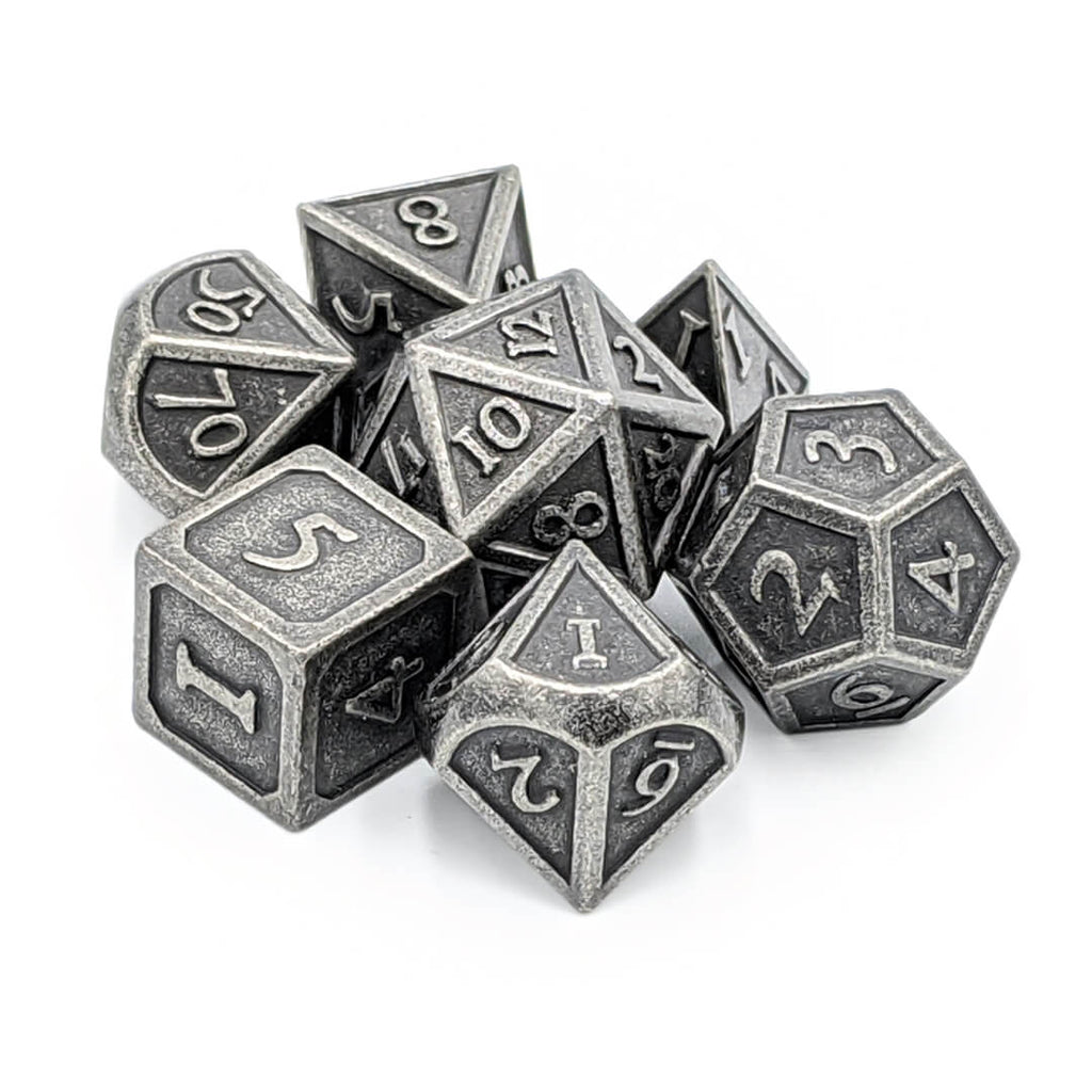 Metal 7 Dice Set - Ornate - Ancient Silver - Imaginary Adventures