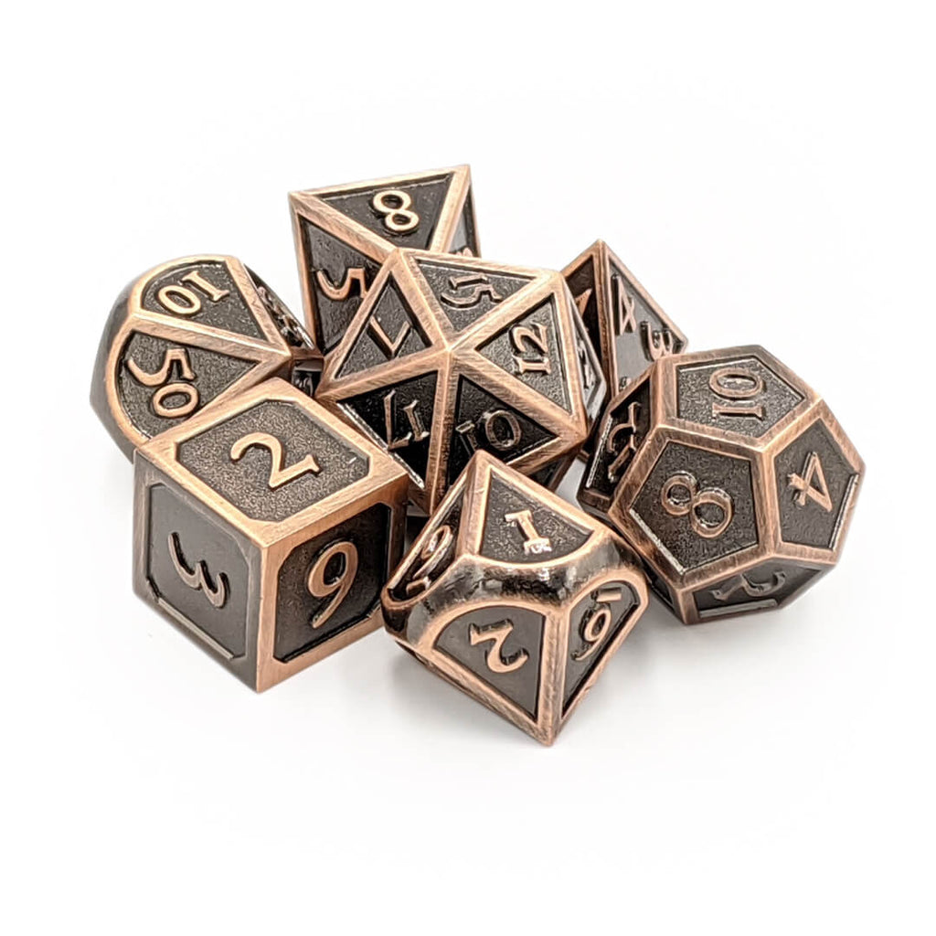Metal 7 Dice Set - Ornate - Old Copper - Imaginary Adventures