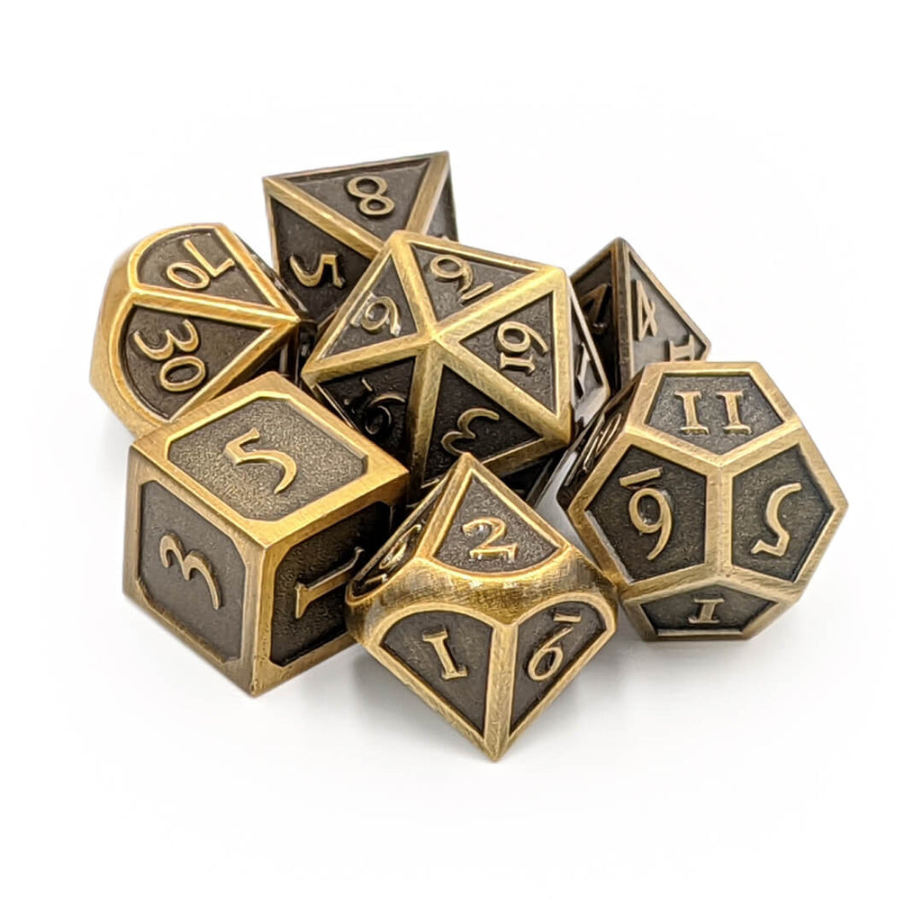 Metal 7 Dice Set - Ornate - Old Gold - Imaginary Adventures
