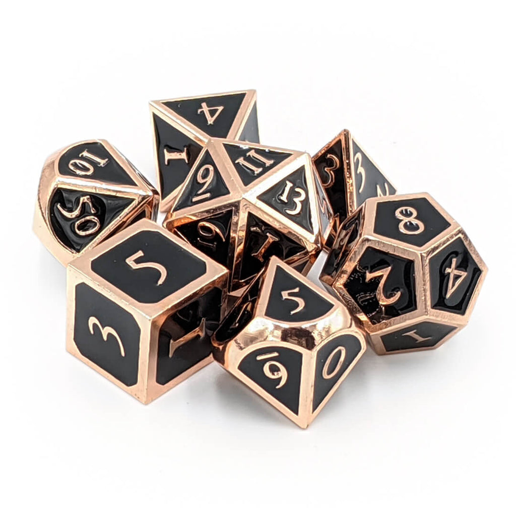 Metal 7 Dice Set - Ornate - Shiny Copper with Enamel - Imaginary Adventures
