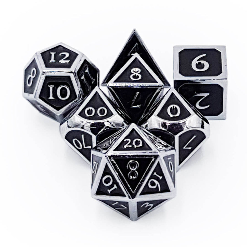 Metal 7 Dice Set - Ornate - Shiny Silver with Enamel - Imaginary Adventures