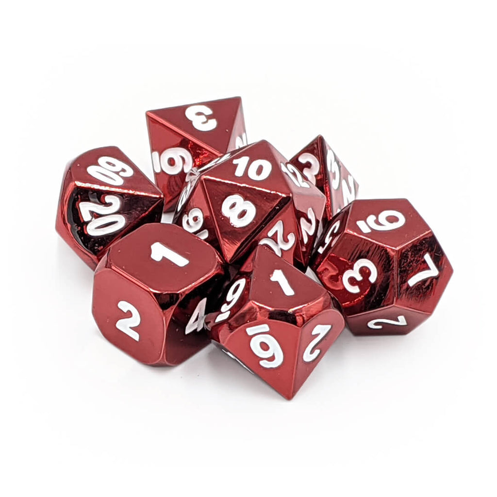 Metal 7 Dice Set - Red - Imaginary Adventures