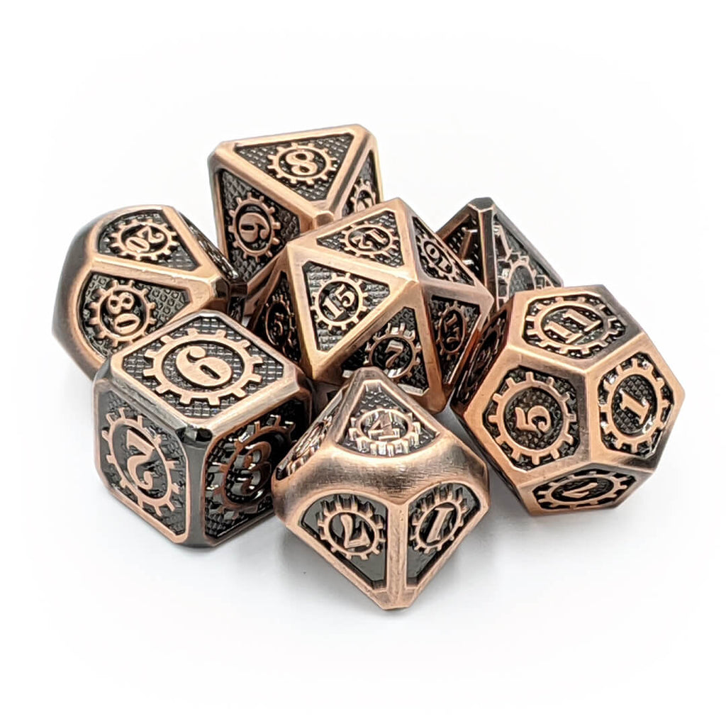 Steampunk Old Copper Metal Dice Set - Imaginary Adventures