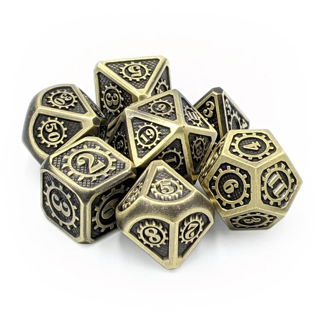 Steampunk Old Gold Metal Dice Set - Imaginary Adventures