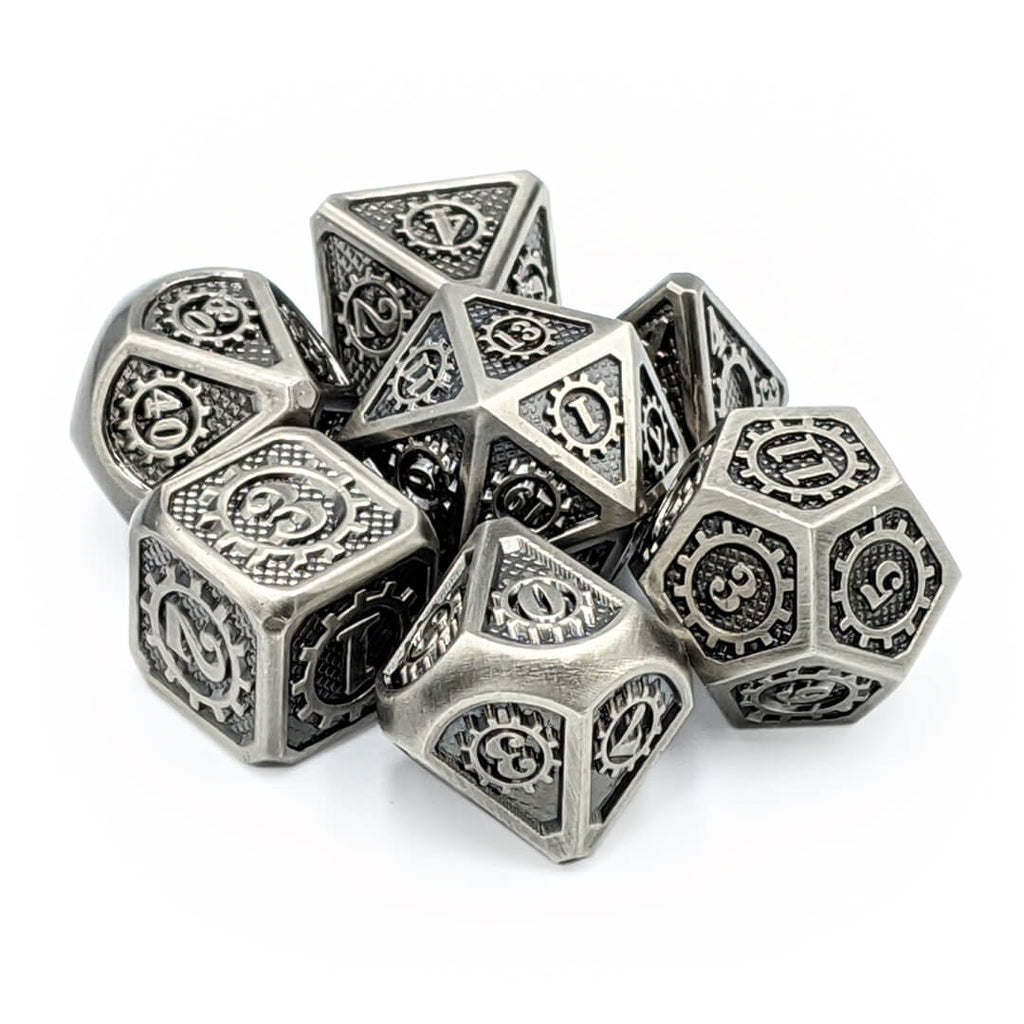 Steampunk Old Silver Metal Dice Set - Imaginary Adventures