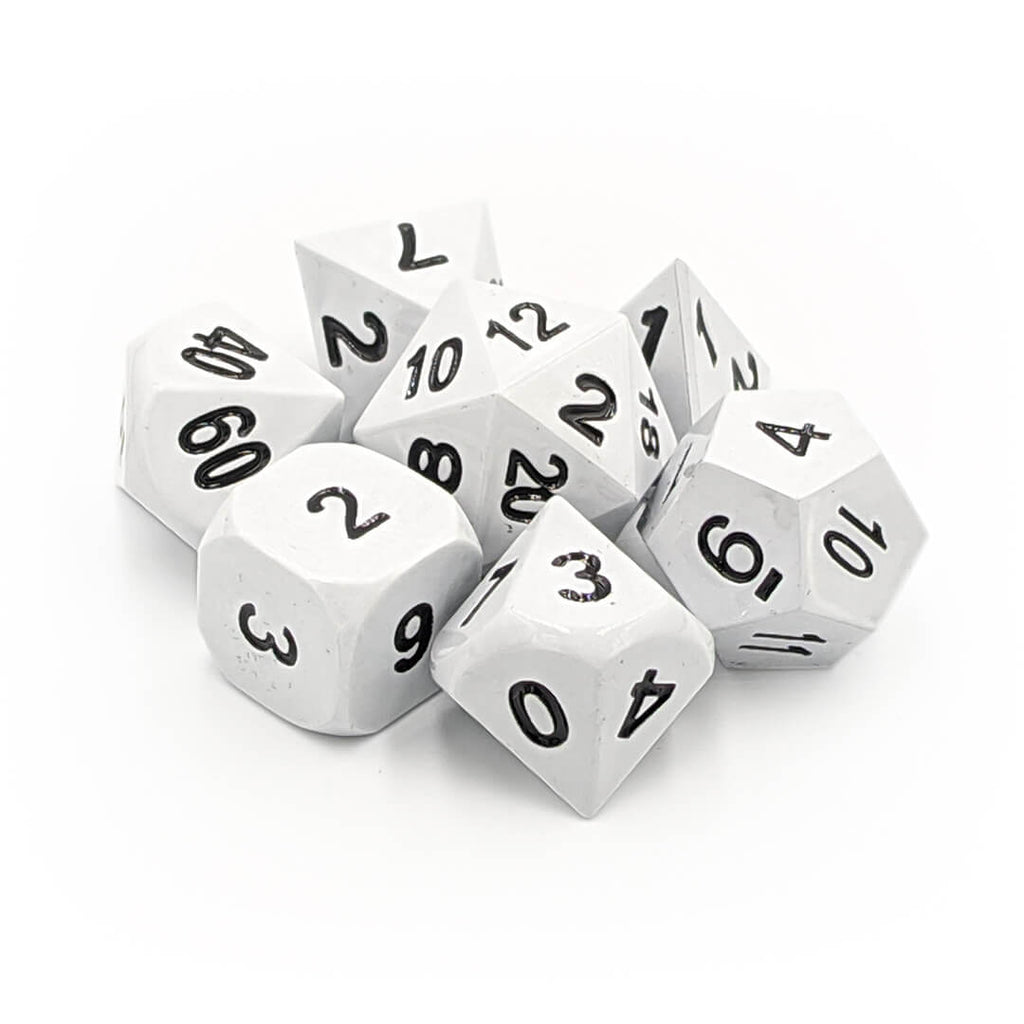Metal 7 Dice Set - White - Imaginary Adventures